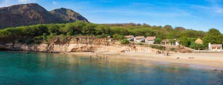 barlavento: Panoramic view of Tarrafal beach in Santiago island in Cape Verde - Cabo Verde