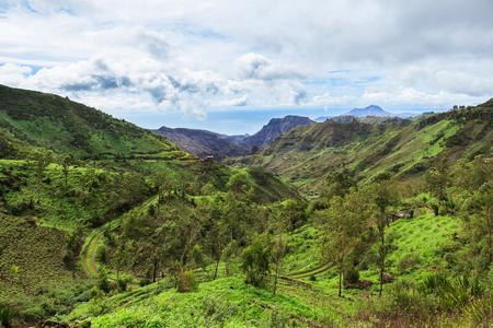 Serra Malagueta mountains in Santiago Island Cape Verde - Cabo Verde Stock Photo
