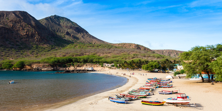island: Tarrafal beach in Santiago island in Cape Verde - Cabo Verde Stock Photo