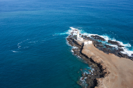santiago cape verde: Aerial view of Ponta Temerosa lighthouse farol in the city of Praia in Santiago - Cape Verde - Cabo Verde