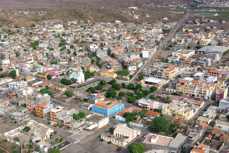 barlavento: Aerial view of Tarrafal city in Santiago island in Cape Verde - Cabo Verde Stock Photo