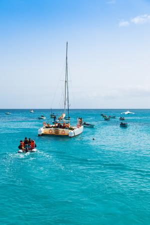 santa maria: Boats Santa Maria beach in Sal Cape Verde - Cabo Verde