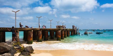 santa maria: Santa Maria beach pontoon in Sal Island Cape Verde - Cabo Verde