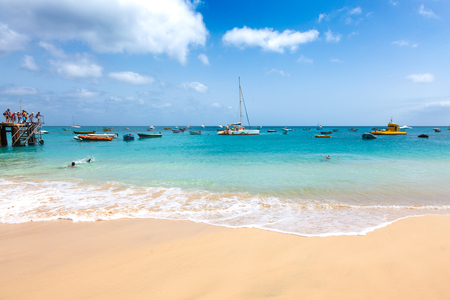 Aerial view of Santa Maria beach in Sal Island Cape Verde - Cabo Verde Stock Photo