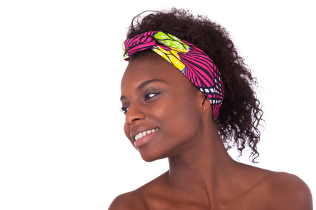 Young beautiful african woman portrait, Isolated over white background