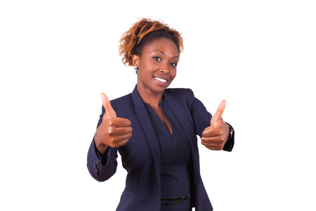 negras africanas: African American business woman making thumbs up gesture - Black people