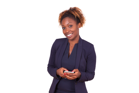 background person: african American business woman using a smartphone - Black people