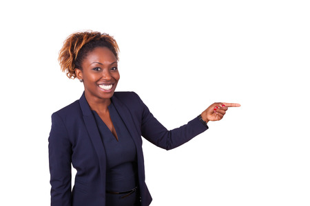 African American business woman pointing something, isolated on white background