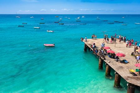 Aerial view of Santa Maria beach pontoon in Sal Island Cape Verde - Cabo Verde Stock Photo