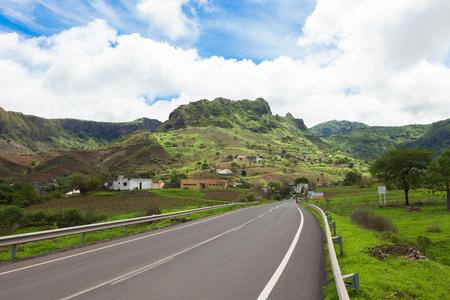 santiago cape verde: Road across the  mountainous landscapes of   Santiago Island Cape Verde - Cabo Verde Stock Photo
