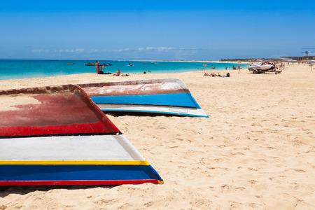 beach view: Fisher boat in Santa Maria beach in Sal Cape Verde - Cabo Verde