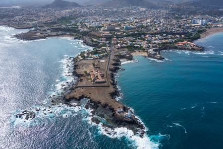 shantytown: Aerial view of Praia city in Santiago - Capital of Cape Verde Islands - Cabo Verde