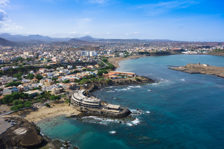 Aerial view of Praia city in Santiago - Capital of Cape Verde Islands - Cabo Verde