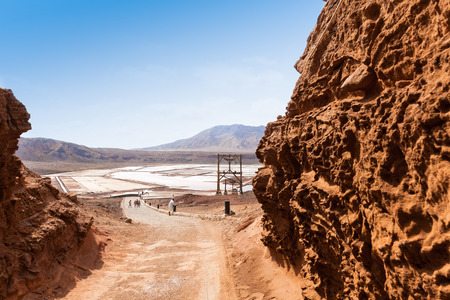 salina: View of Salinas entrance  in Sal Cape Verde - Cabo Verde Islands Stock Photo