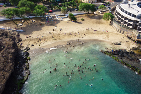 praia: Aerial view of Prainha beach in Praia  - Santiago - Capital of Cape Verde Islands - Cabo Verde