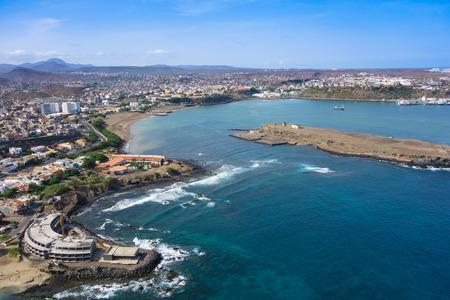 santiago cape verde: Aerial view of Praia city in Santiago - Capital of Cape Verde Islands - Cabo Verde