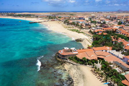 santa maria: Aerial view of Santa Maria beach in Sal Island Cape Verde - Cabo Verde