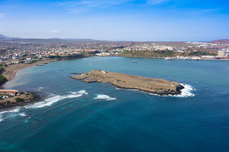 shantytown: Aerial view of Praia city in Santiago - Capital of Cape Verde Islands - Cabo Verde
