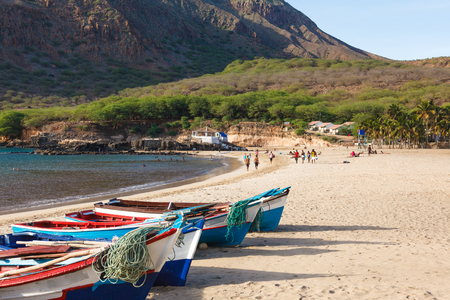 barlavento: Fisher boats in Tarrafal beach in Santiago island in Cape Verde - Cabo Verde
