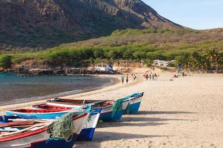 santiago cape verde: Fisher boats in Tarrafal beach in Santiago island in Cape Verde - Cabo Verde