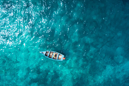 Aerial  view Traditional fisher boat in Santa Maria  in Sal Island in Cape Verde - Cabo Verde Stock Photo
