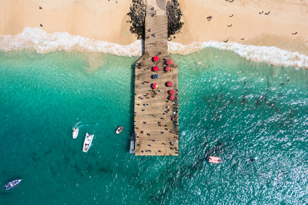 Aerial view of Santa Maria beach pontoon in Sal Island Cape Verde - Cabo Verde Stock Photo