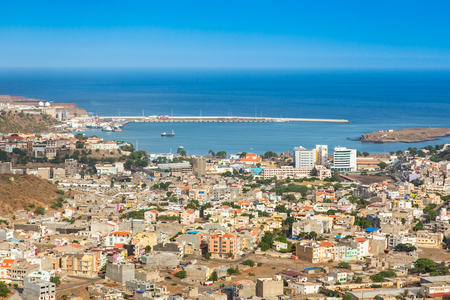 shantytown: View of Praia city in Santiago - Capital of Cape Verde Islands - Cabo Verde