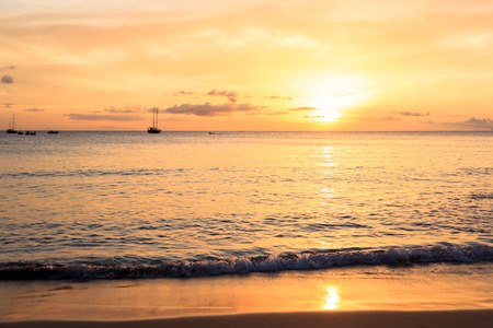 barlavento: Sunset in Tarrafal beach in Santiago island in Cape Verde - Cabo Verde Stock Photo