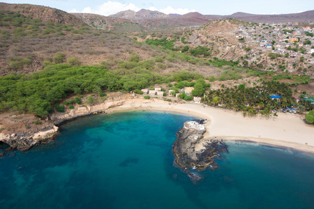 barlavento: Aerial view of Tarrafal beach in Santiago island in Cape Verde - Cabo Verde