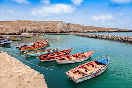 Fisher boats in Pedra Lume harbor in Sal Islands - Cape Verde - Cabo Verde Stock Photo