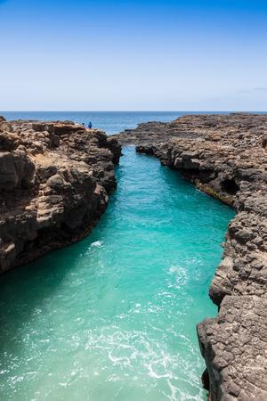 eyes cave: Buracona  in Sal Island Cape Verde - Cabo Verde Stock Photo