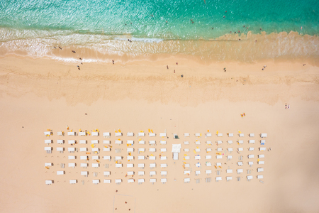 Aerial view of Santa Maria beach parasol and deck chair in Sal Island Cape Verde - Cabo Verde Imagens
