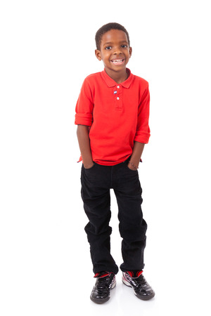 south american ethnicity: Portrait of a cute african american little boy smiling, isolated on white background