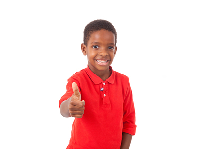 south american ethnicity: Portrait of a cute african american little boy making thumbs up gesture, isolated on white background