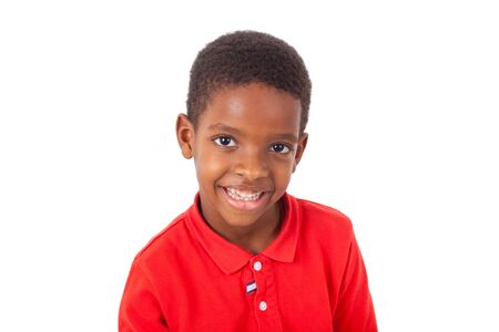 brazilian ethnicity: Portrait of a cute african american little boy smiling, isolated on white background