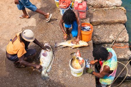 Fisher mens in Pedra Lume harbor in Sal Islands - Cape Verde - Cabo Verde
