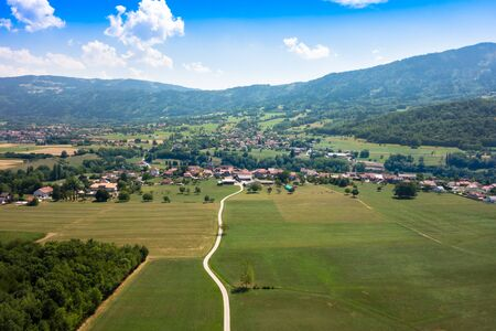 street shots: Aerial view of a French village in Haute Savoie France
