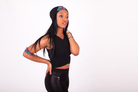 african american woman: Beautiful African American woman wearing a headband isolated on white background