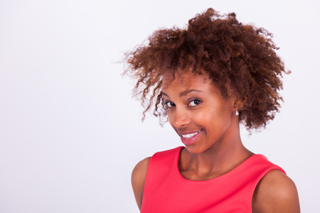Young black African American woman with frizzy afro hair Stock Photo