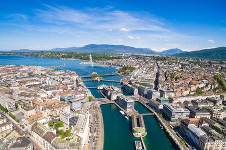 Luftaufnahme der Genfer See - Stadt Genf in der Schweiz