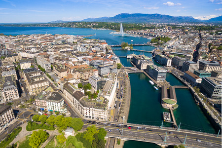 leman: Aerial view of Leman lake -  Geneva city in Switzerland Stock Photo