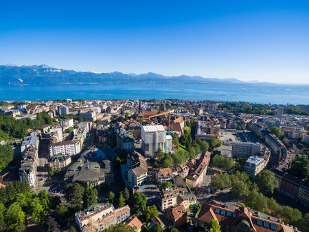 Aerial view of Lausanne, Switzerland Stock Photo