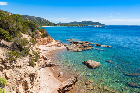 Palombaggia beach in Corsica Island in France Stok Fotoğraf