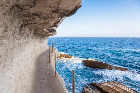 King Aragon stair steps in  Bonifacio cliff coast rocks, Corsica island, France Stock Photo
