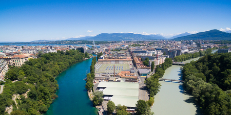 Panoramic Aerial view of Arve an Rhone river confluent in  Geneva Switzerland