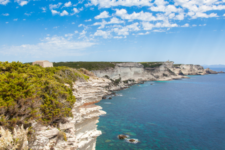 View of Bonifacio wild coast cliff rocks, Corsica island, France