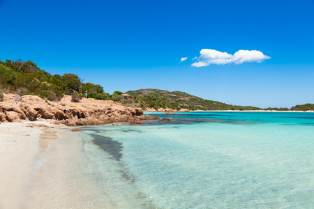 Turquoise water of  Rondinara beach in Corsica Island in France