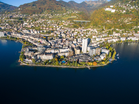 montreux: Aerial view of Montreux waterfront, Switzerland Stock Photo