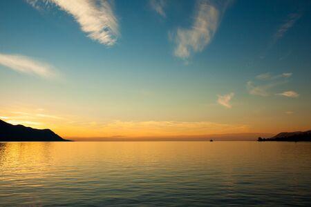 lake sunset: Beautiful sunset on Leman Lake in Montreux  Switerland Stock Photo