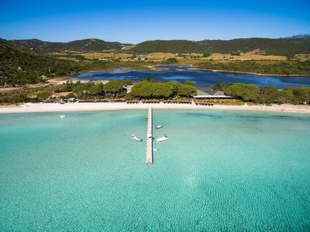Aerial  view  of Santa Giulia beach in Corsica Island in France 版權商用圖片